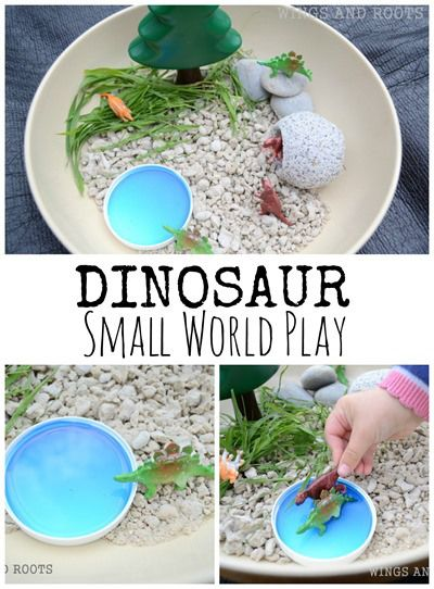 Dinosaur Small World Play in a bowl :: from Wings and Roots