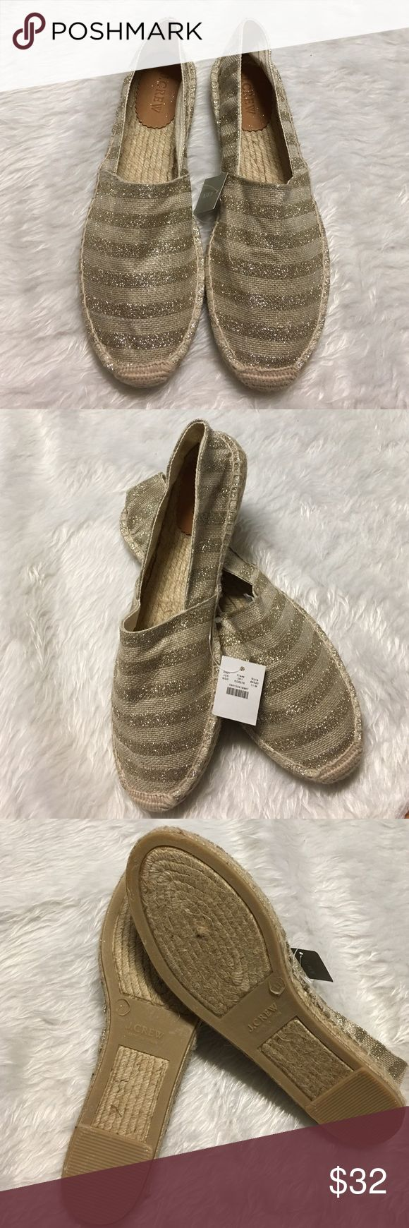 J. Crew glitter stripe espadrilles. NWT. Size 11. Adorable gold glitter striped J Crew espadrilles! Perfect for spring & summer! New with tags. Size 11. J. Crew Shoes Espadrilles