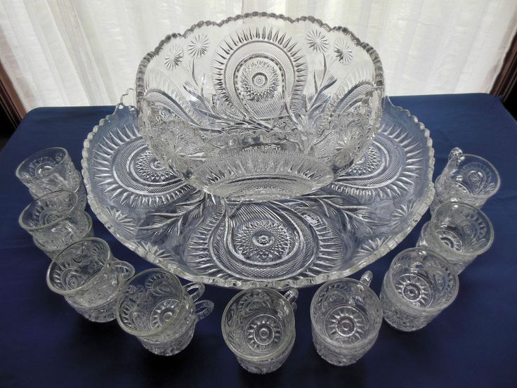 L E Smith Glass Clear Pinwheel & Star Slewed Horseshoe 20 piece Punch Bowl Set #LESmithGlass