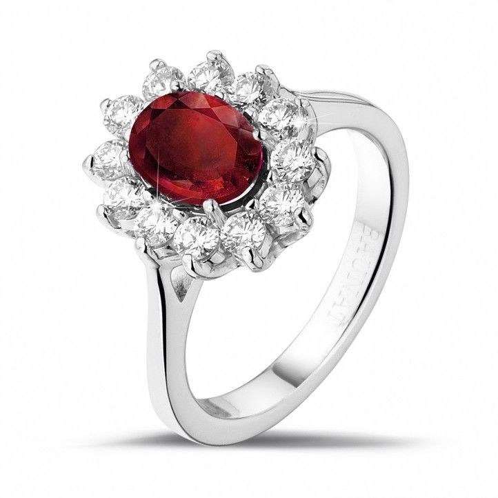 Entourage Ring In Platinum With An Oval Ruby And Round Diamonds 12 x 0.055 Ct, Of High Quality (G colour, VS2 clarity, VG cut.) Handmade In Antwerp.