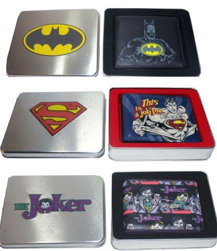 OFFICIAL-MENS-EMBOSSED-BATMAN-JOKER-SUPERMAN-WALLET-IN-A-TIN-Bi-fold