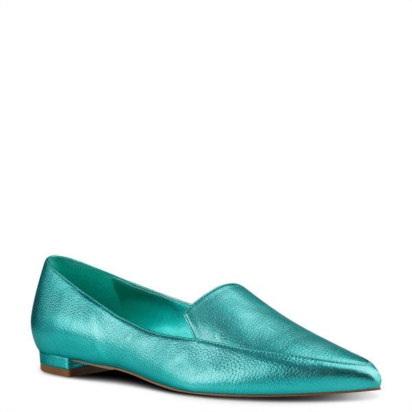 Nine West Abay Smoking Flats (£64) ❤ liked on Polyvore featuring shoes, flats, peacock metallic, nine west flats, pointed toe flats, nine west shoes, metallic ballet flats and ballet flats