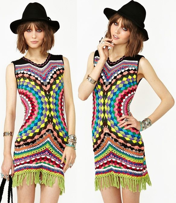 This Psychedelic Crochet Dress from Shakuhachi is Seriously Coachella-Worthy
