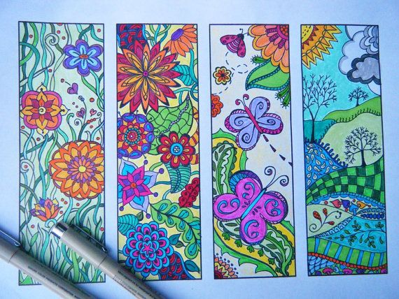 Zentangle Bookmark Flowers to Print