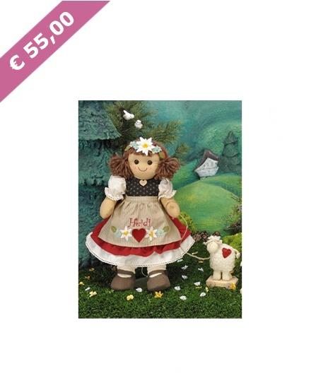 La Bambola Heidi con Fiocco My Doll (42 cm)  Bambola di pezza, capelli di lana e due bottoni come occhi; capace di emozionare piccoli e grandi.  Una bambola semplice ma speciale, che acquista bellezza con il tempo, non si rompe e non ha bisogno di batterie.  Prodotta con materiali naturali e resistenti di prima qualità.