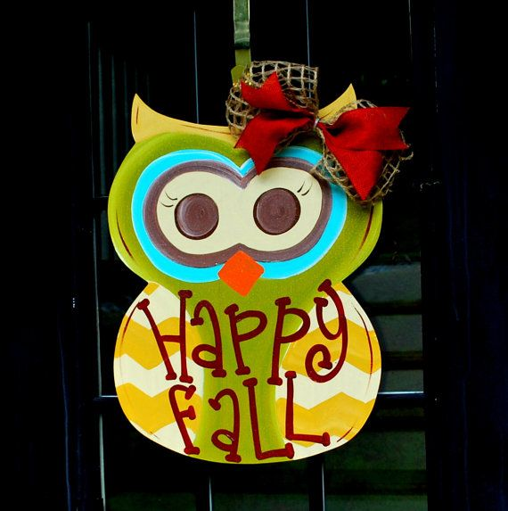 Fall Wreath, Door Hanger: Fall, Autumn Owl Door Decoration, Fall Home Decor, Fall Owl Door Hanger on Etsy, $45.00