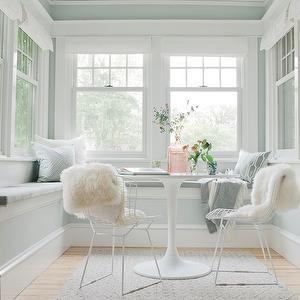Dining Nook, Transitional, dining room, Sherwin Williams Sea Salt, Emily Henderson