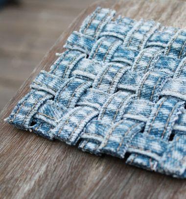 DIY Woven denim jeans seam coasters - recycling craft // Szövött poháralátét farmer nadrágból - kreatív újrahasznosítás // Mindy - craft tutorial collection