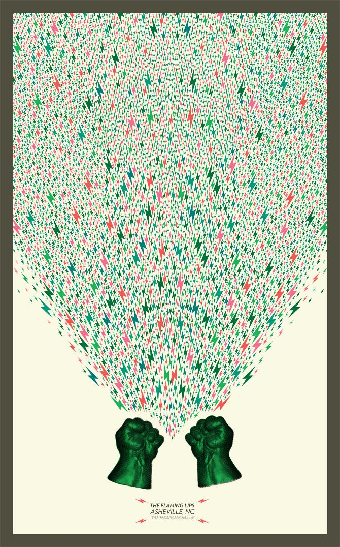 The Flaming Lips gig poster designed by Atlanta based graphic designer Stewart Scott-Curran of Only More Never Less.