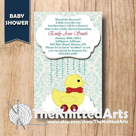 Baby Shower Invitation. 4x6. Yellow Duck Rain Shower. Customized then Print at Home.