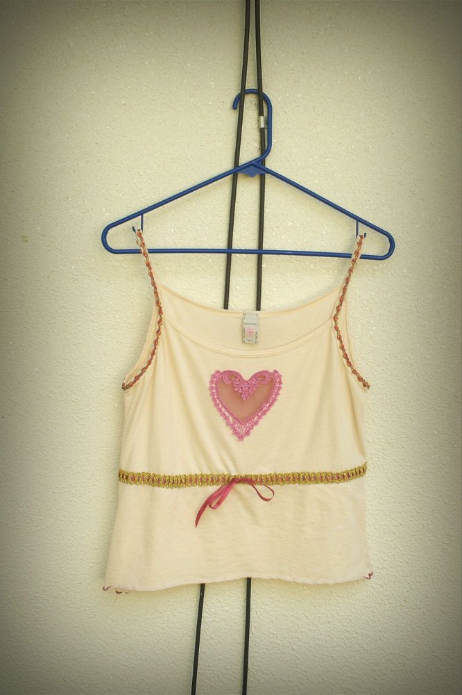 Petro Zillia Camisole Open Heart  Ribbon Mesh Lace Trim Detail Boho Chic M/L #PetroZillia #Tank #Cami #Casual #bohochic #fashion #wearableart