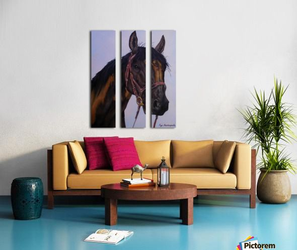 Interior Decor, Inspiration, brown, horse, portrait, equine, art, triptych, 3 split,  canvas, multi panel canvas, print