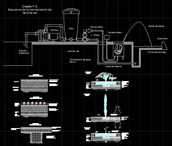 Fountain installation and pavements--concrete cobblestones, overlays, grass (dwgAutocad drawing)