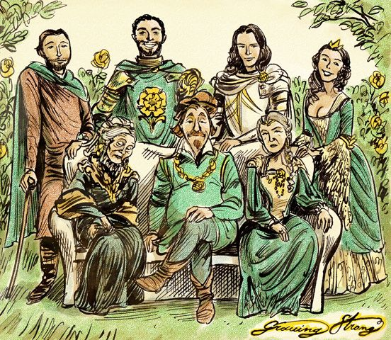 House Tyrell - Back row, left to right: Willas, Garlan, Loras, Margaery. Front row: Olenna, Mace, Alerie Hightower. #got #agot #asoiaf