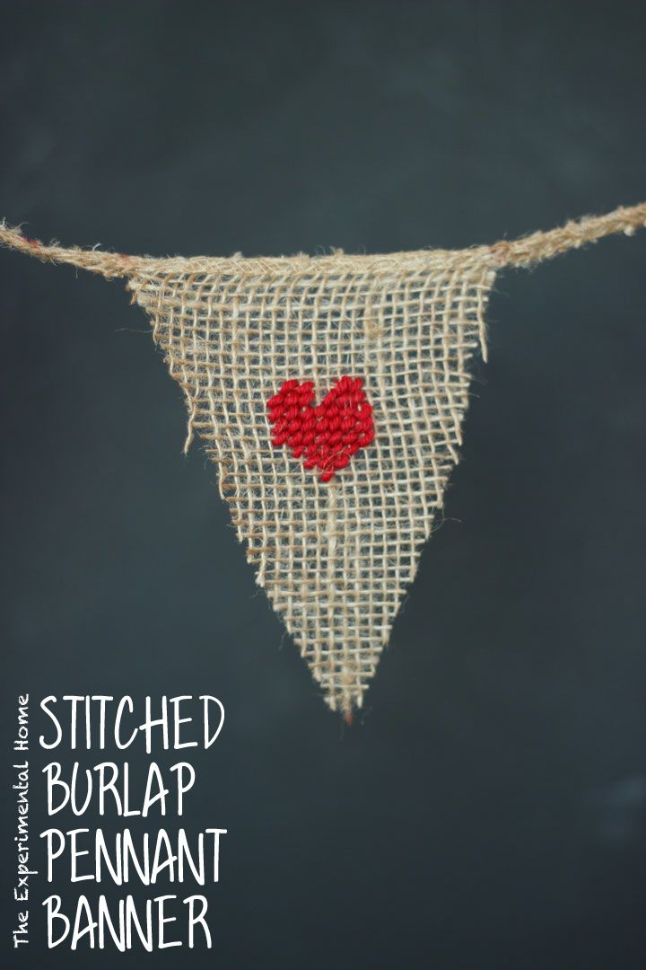Stitched burlap pennant banner for Valentines Day at theexperimentalhome.com