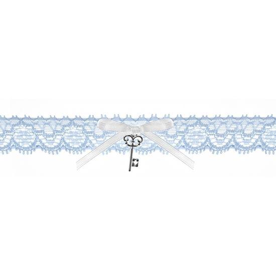 Bruids kousenband blauw met sleuteltje. Blauw kanten kousenbandje met een wit lintje en een sleuteltje. Breedte 2,5 cm. Verpakking: 1 stuk.