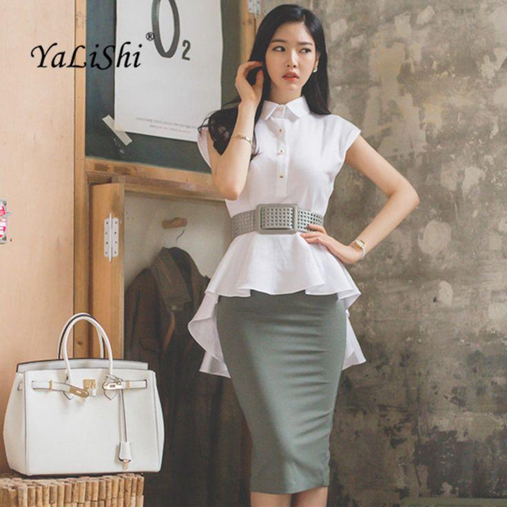 YaLiShi 2017 2 Unidades Set Mujeres Traje Blanco de Verano de Las Colmenas de La Blusa Tapas de la camisa y Fajas Gris Midi Lápiz Faldas Blusa Entallada y falda en Sets mujer de Ropa y Accesorios de las mujeres en AliExpress.com | Alibaba Group