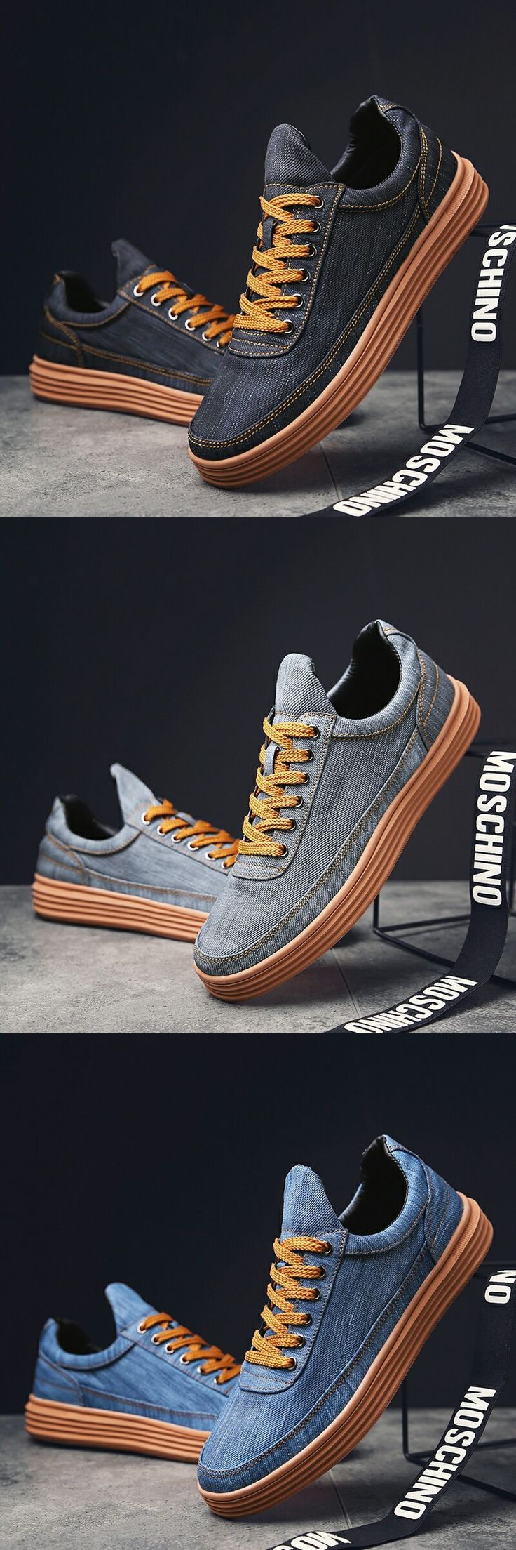 US $27.2<Click to buy> Prelesty New Jeans Denim Mens Pointed Toe Dress Shoes Footwear
