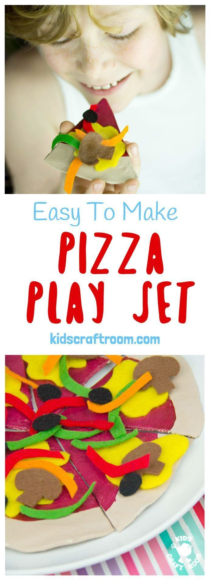 HOMEMADE PIZZA PLAY SET Your kids will enjoy hours of imaginative play and learning with this easy to make and very realistic pizza pretend food set. #kidscraftroom #play #playideas #pretendplay #dramaticplay #makebelieve #playkitchen #imaginativeplay #toys #homemadetoys #diytoys #pizza #saltdoughcrafts #saltdough #felt #feltcrafts #kidscrafts #craftsforkids #preschool #preschoollearning #earlyyears #earlylearning #prek  via @KidsCraftRoom