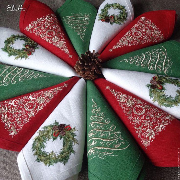 Купить Салфетка с вышивкой новогодняя - Элегантная ель в зеленом - тёмно-зелёный, зеленый, золотой