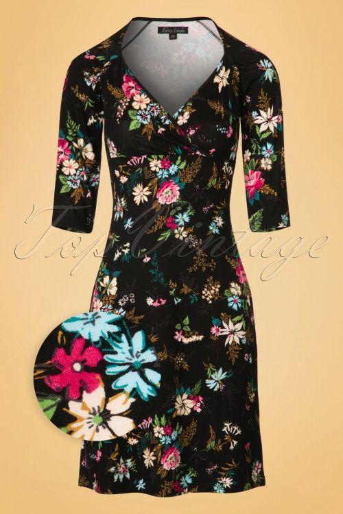 King Louie - 60s Gina Secret Garden Floral Dress in Black