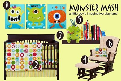 Someone created a idea board for a monster themed nursery using my art!  The board looks great and I love that she took the time to list where each item can be purchased.  Thanks! www.whatisagrit.etsy.com