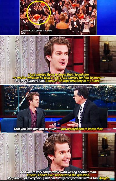 Andrew Garfield opened up about kissing Ryan Reynolds at the Golden Globes.