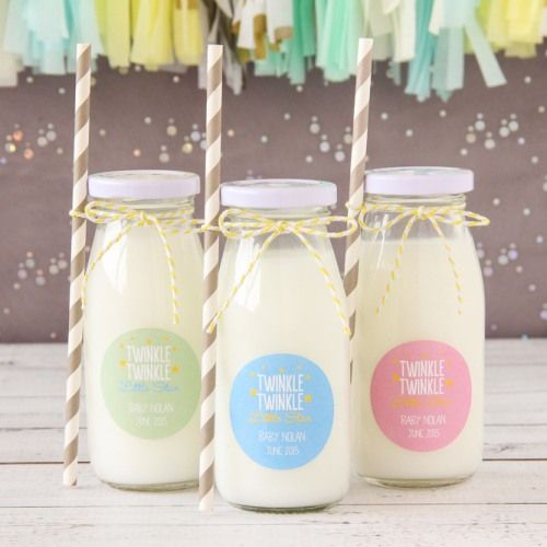 Celebrate new baby the eco-friendly way by having these personalized baby themed milk jars and straws with exclusive designs at your baby shower.