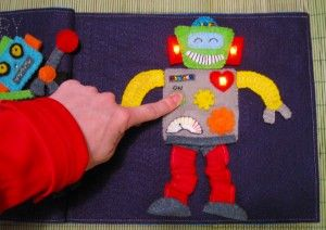 Build a Robot quiet book page with working LED lights (free pattern)