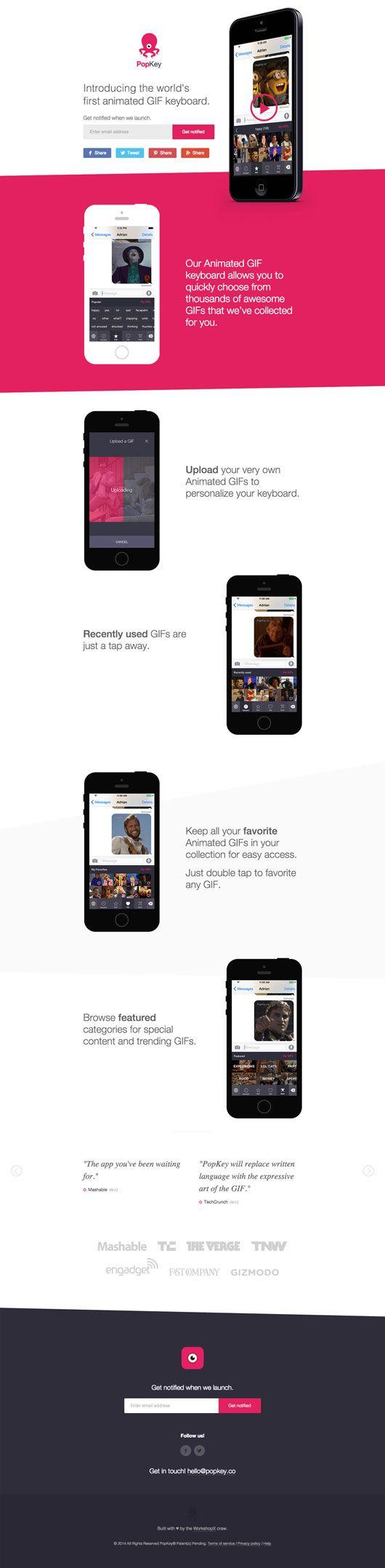 Mobile App Landing Page: PopKey #flat #landingpage