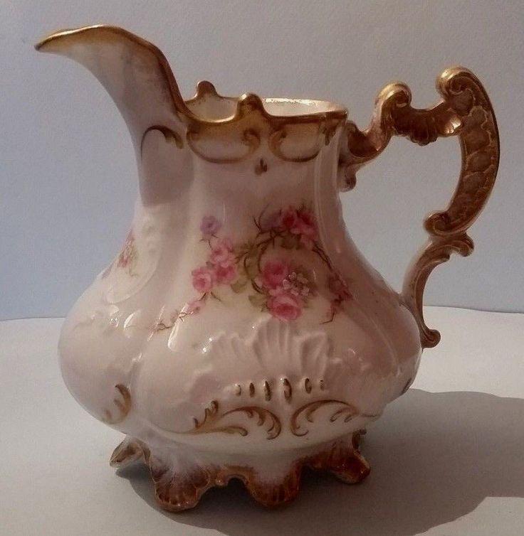 Antique French Porcelain Limoges cream pot Flowers decor #Limoges