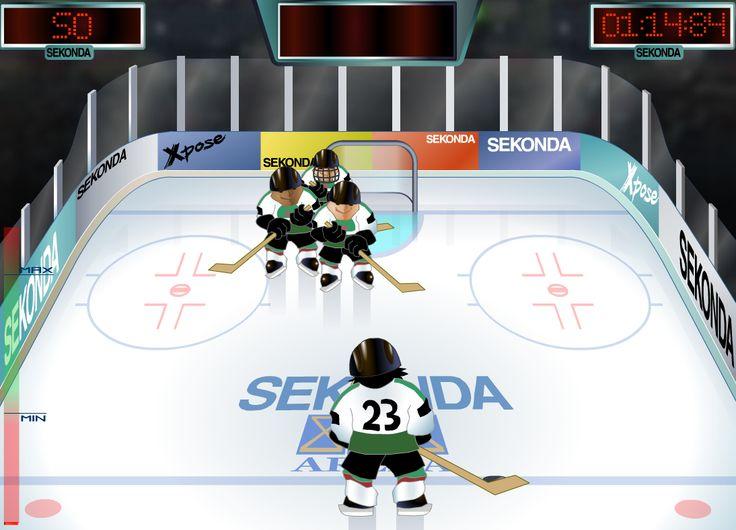 Buen juego de Hockey un deporte donde se juega sobre el hielo, ahora tienes que lanzar el disco para anotar puntos, golpeando a quien se te atraviesa, trata de hacer el mayor punteo que puedas.