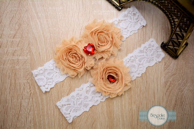 Garter Set Handmade of White Lace, Cream Nude Flower and Red Rhinestone by BespokeGarters on Etsy