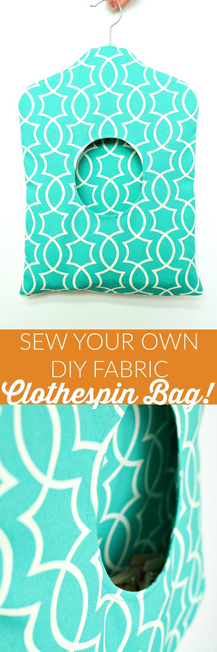 GREAT tutorial for a DIY Fabric Clothespin Bag | How to sew your own self-lined clothespin holder - click through for sewing tutorial with step-by-step photos and instructions!  Make laundry day prettier...