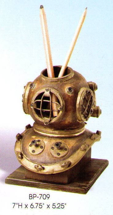 Deep Sea Diver helmet pencil holder. This site has tons of nautical gifts too!