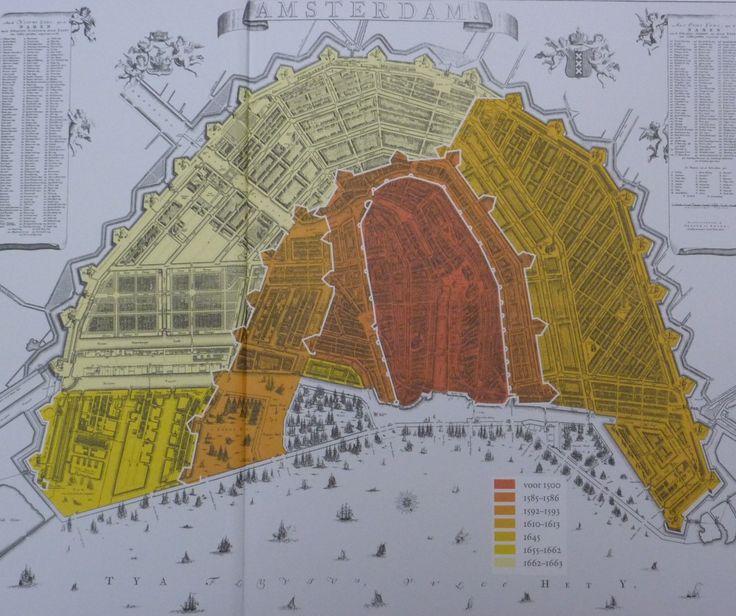 De derde uitleg is donkergeel (rechts op de kaart) weergegeven. Bron: De grote uitleg van Amsterdam (2011)