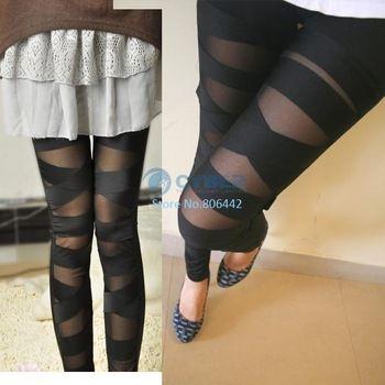 New Fashion Ripped Cut Out Bandage Lady Leggings Black free shipping