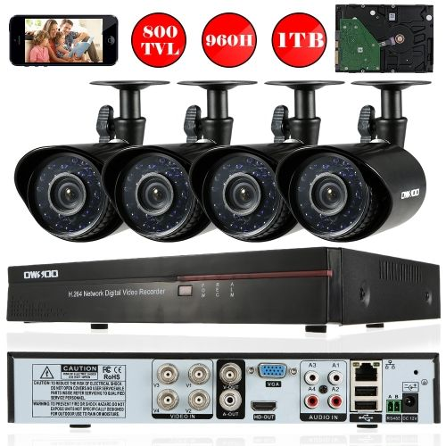 OWSOO 4CH Channel Full 960H/D1 800TVL CCTV Surveillance DVR Security System HDMI P2P Cloud Network Digital Video Recorder + 1TB Hard Disk + 4* Outdoor/Indoor Infrared Bullet Camera + 4*60ft Cable support IR-CUT Night Vision Weatherproof Plug and Play Andr