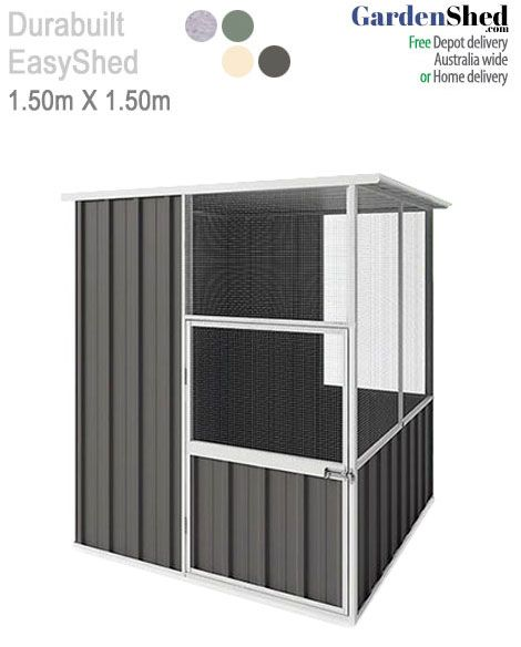 This EasySHED Aviary bird cage by Durabuilt measures 1.5m x 1.50m and comes with thick mesh that is tough.