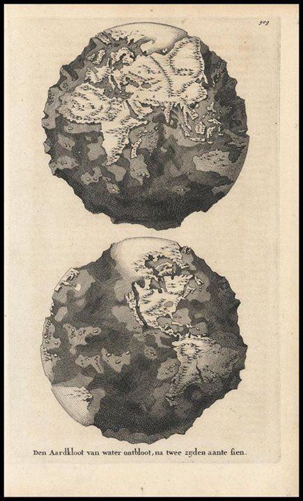 A Terra sem água, num infográfico de 1694.
