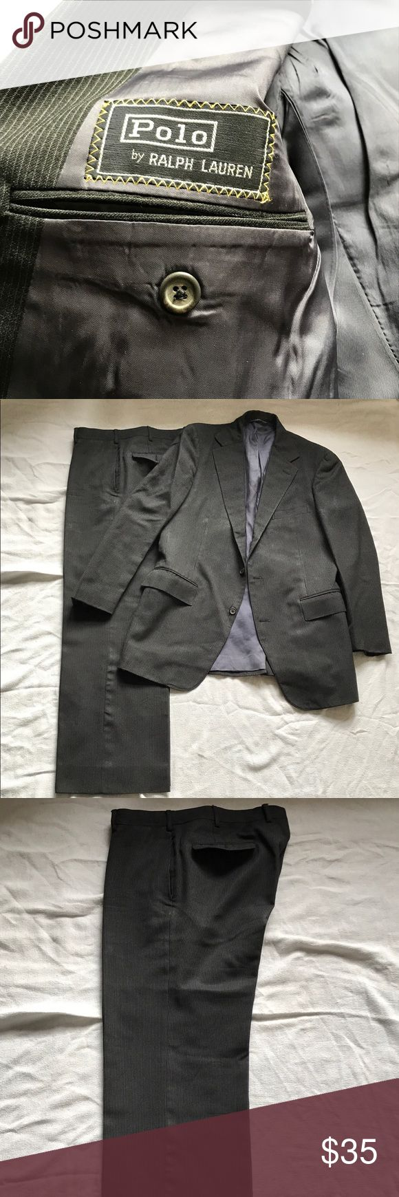 """Polo by Ralph Lauren Pinstriped Two Piece Suit Polo by Ralph Lauren Black and Grey Pinstripe Two Piece Suit.   Damaged by heat from iron or steam.   Final Price  Measurements:   Pants Waist: 36"""" Length: 40"""" In Seam: 30""""   Jacket: Pit to Pit: 40"""" Shoulders: 19.5""""  Length: 32"""" Polo by Ralph Lauren Suits & Blazers Suits"""