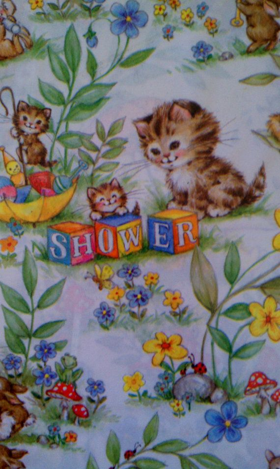 Vintage Hallmark Baby Shower Wrapping Paper 8 Square by Moderra