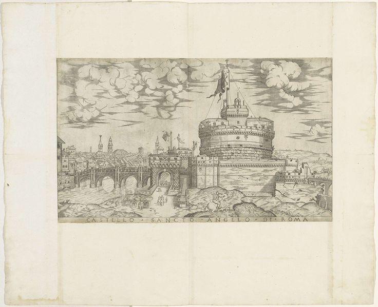 Anonymous | Engelenburcht (Castel Sant' Angelo), Anonymous, 1550 - 1570 | Gezicht op de Engelenburcht (Castel Sant' Angelo) te Rome, vanuit het noorden. Links van de burcht een blik op de stad, met ondermeer zicht op het Pantheon. Rechts van de burcht een landschap. Op de voorgrond links een kwakzalver of marskramer die een verhaal vertelt aan een publiek. Midden voor een ridder te paard.