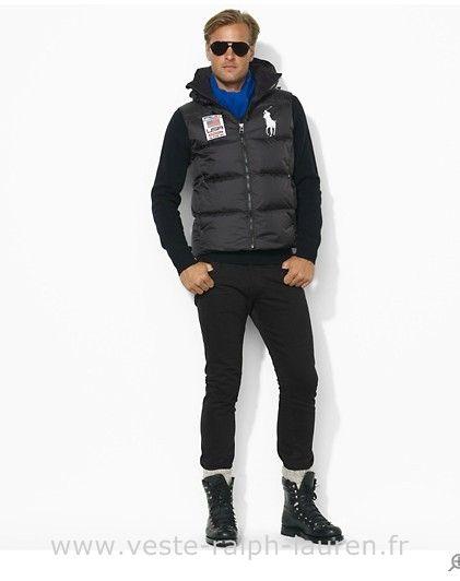 boutique Ralph Lauren 2013 veste sans manches populaire hommes big polo  downhill usa67 noir Gilet Sans