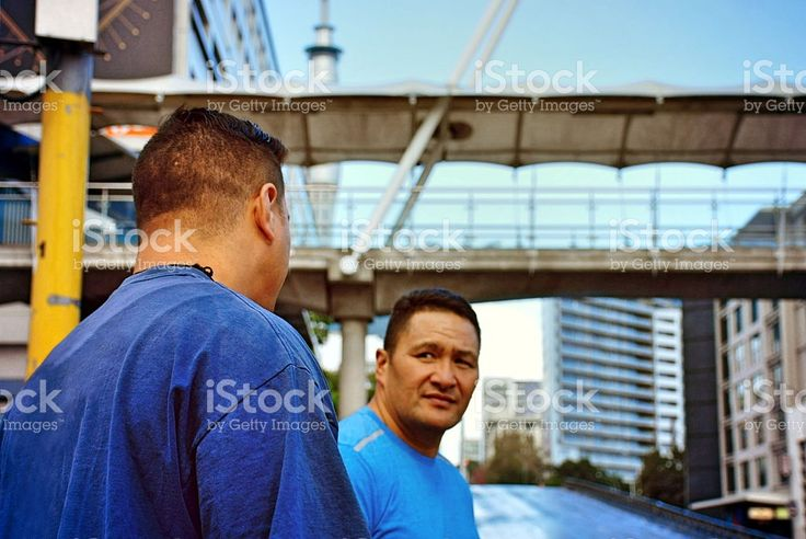 Pacific Island Men in Urban Auckland Scene royalty-free stock photo
