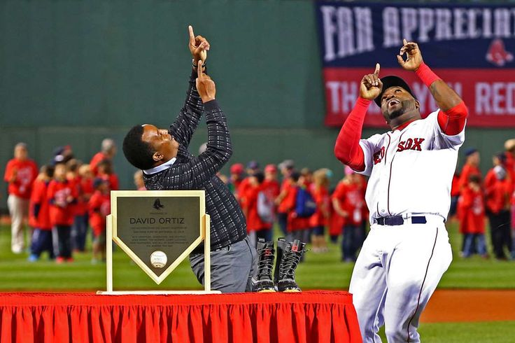 Papi and Pedro -  Boston Red Sox designated hitter David Ortiz (right) and former Red Sox pitcher Pedro Martinez celebrate during a pregame ceremony to honor Ortiz's 500th home run before a game against the Tampa Bay Rays on Sept. 21 in Boston. -  © Mark L. Baer/USA TODAY Sports