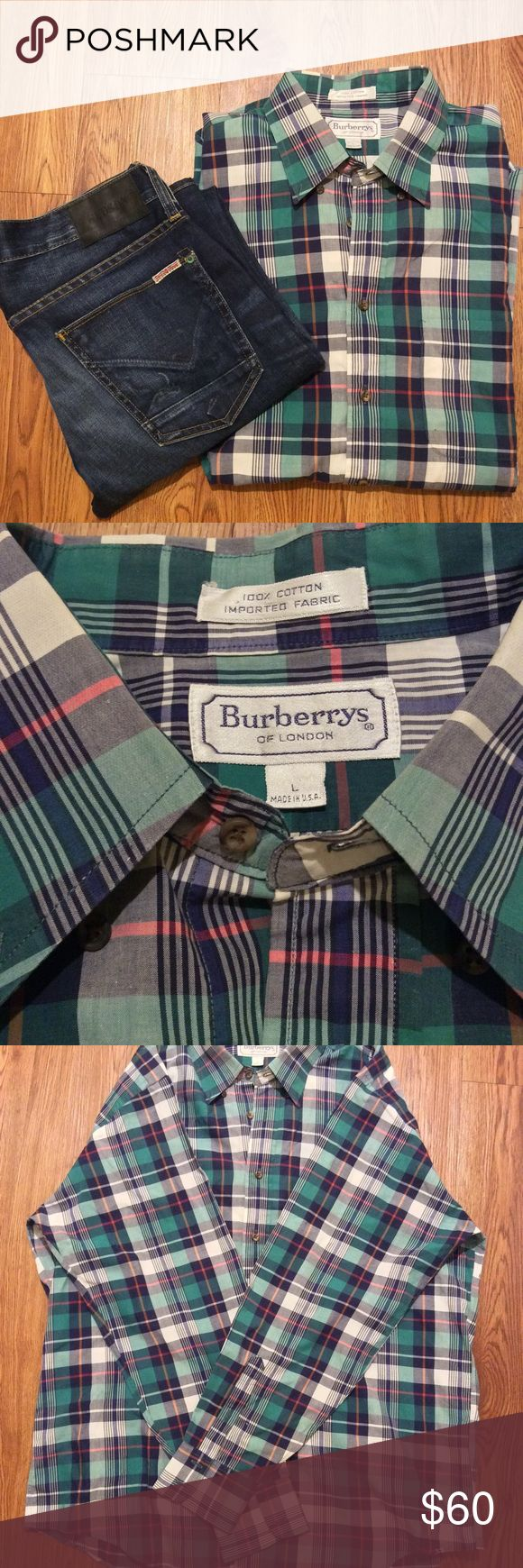 Vintage Burberry Men's Shirt. Size Large. Vintage Burberry Men's Shirt. Size Large, blue, pink, green and pink plaid, new without new tags, 20-inches shoulder to shoulder, 30-inch length shoulder to hip, 23-inch width Burberry Shirts Casual Button Down Shirts