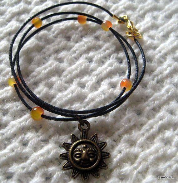 Symbolizit - Sun Bracelet - Bronze Jewelry - Wrap Bracelet with Orange Glass Beads - Beaded Bracelet -   Nature Jewelry