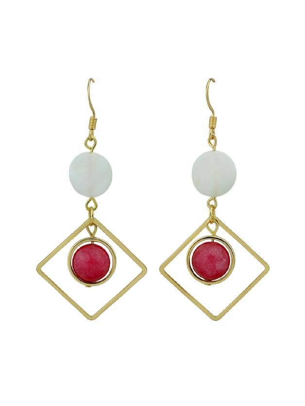 Gemstone. Gold colored metal. Dangle Perfect choice for Casual wear. Designed in Colorful.