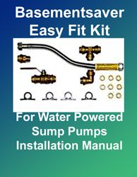 Sump Pump Installation - Installation Manual for Basementsaver Easy-Fit Plumbing Kits For all Basementsaver Water Powered Backup Sump Pumps. FREE Download at: http://www.1stflash.com/files/WP-Backup-Pump-Fitting-Kit-Installation.pdf